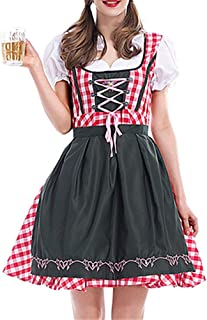 Women's German Oktoberfest Costume Adult Dirndl Traditional Bavarian Beer Carnival Fraulein Cosplay Maid Dress Outfit