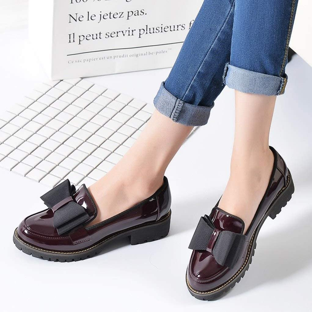 Women Platform Brogues Oxfords Leather Bow Slip On Round Toe Comfy Casual Flats Dress Pumps Loafers Shoes