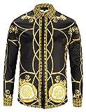 PIZOFF - Camisa de manga larga para hombre, diseño barroco Y1792-31 M