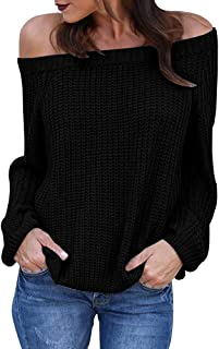 Gemijack Womens Off The Shoulder Sweaters Oversized Cable Knit Pullover Tops