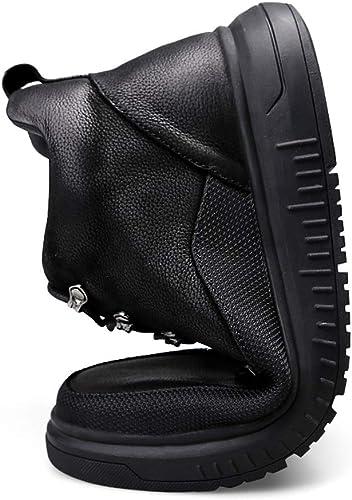 Shufang-chaussures Semelles de Travail Noires pour Hommes très Souples en Semelle d'hiver (intérieur en Polaire en Option) (Couleur   Noir, Taille   46 EU)
