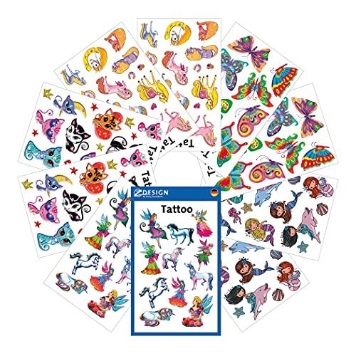 AVERY Zweckform 134 Tattoos für Mädchen (Tattoo Set Kinder, temporär, wasserfest, Klebetattoos, Kindergeburtstag, Mitgebsel, Partyspiele Preise, Schnitzeljagd, Kinder zum Spielen, Geschenke) 59996