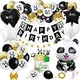 Décorations Fête Panda pour Enfants, Panda Anniversaire Fournitures Kit avec Joyeux Anniversaire Bannière Panda Ballons Panda Cupcake Toppers pour Garçons Filles Panda Thème Fête d'Anniversaire