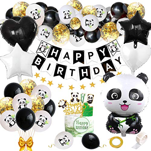 Panda Geburtstags Dekorationen für Kinder, Panda Party Supplies Kit mit Happy Birthday Banner Panda Luftballons Panda cake Topper für Jungen Mädchen Panda Thema Geburtstagsfeier Babyparty Gefallen