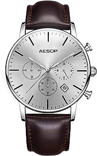 AESOP 腕時計 メンズレザーウォッチアナログクオーツ防水時計シンプルオシャレ 腕時計 超薄型 (シルバー)