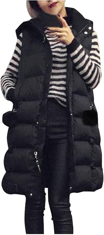Women'S Waistcoat Cotton Autumn Winter Jacket Hooded Medium Length Slim Outwear Solid Color Warm Hooded Outdoor Coat