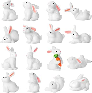 16 Pieces Cute Animal Mini Bunny Figurines Cake Cupcake Toppers Party Decoration Rabbit Miniature for Kids Craft Playset Fun Office Home Decor