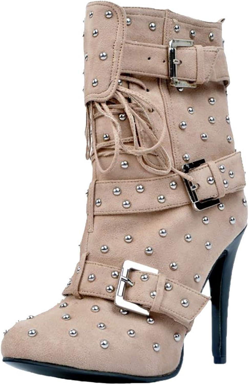 CASOCK Woherrar Handgjorda Ankle stövlar Rivets Spikes Vintages Booslipss Booslipss Booslipss Buckles Mode Dress Evening stövlar skor  upp till 50% rabatt