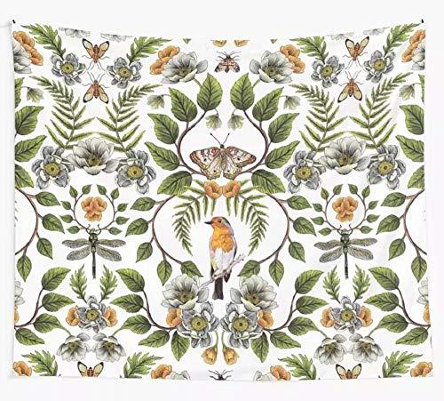 Primavera Reflexión Floral Patrón Botánico Aves Polillas Libélulas Flores Tapiz Colgante de pared Dormitorio Hogar Alfombra Dormitorio Decoración 150x200cm