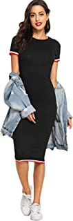 SheIn Women's Casual Short Sleeve Pencil Dress Crew Neck Midi Bodycon T Shirt Dres