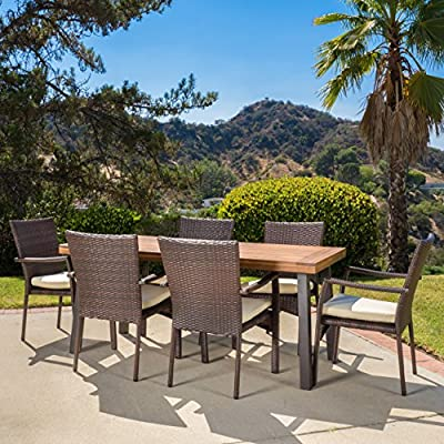 Christopher Knight Home Castlelake   7 Piece Outdoor Dining Set with Cushions   Perfect for Patio   in Brown