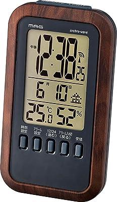 MAG(マグ) 目覚まし時計 電波 デジタル メテオーラ 温度 湿度 カレンダー表示 ブラウン T-717BR-Z