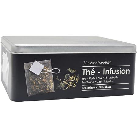 Boite alimentaire - Relief II - thé-infusion - 21 x 16.5 x 8.5 cm - Fer et étain - Noir