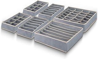 Yucch Lot de 4 Organisateur de Tiroir, Boîte de Rangement à Compartiment Gain de Place, pour Chaussettes, Soutiens-Gorge, ...