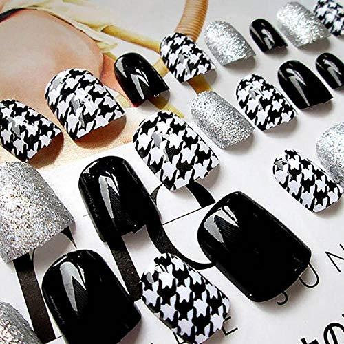 NYJNN Künstliche Nägel Klare künstliche Nägel mit Kleber für Frauen Shiny Black White Glitter Designs Fingernagelspitzen Kurze falsche Nägel Nail Art Dekorationen