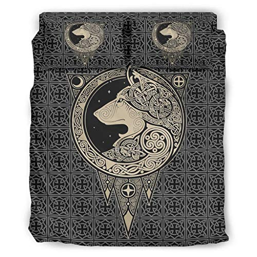 Tentenentent Juego de 4 sábanas vikingas con árbol de la vida, fundas de almohada y fundas de edredón, suave y fácil de cuidar, color blanco 5 175 x 218 cm