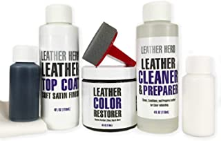 Leather Hero Leather Color Restorer Complete Repair Kit- Refinish, Recolor, Renew Leather & Vinyl Sofa, Purse, Shoes, Auto Car Seats, Couch 4oz (Light Brown)
