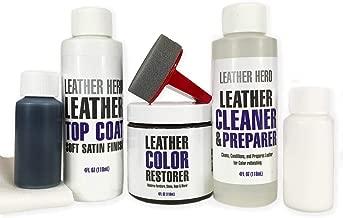Leather Hero Color Restorer Complete Repair Kit- Refinish, Recolor, Renew Leather & Vinyl Sofa, Purse, Shoes, Auto Car Seats, Couch 4oz (Navy Blue)