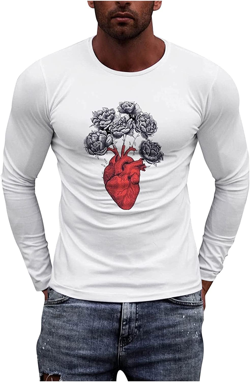 FORUU Mens Graphic Tees 2021 Fall Long Sleeve Shirts Plus Size Round Neck Slim Fit T Shirts Fashion Tops Basic Tees