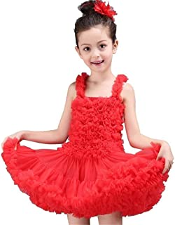 Beautiful Dance Skirt Blue/Pink Girl Skirt Prom Ballet Skirt Stage Performance Clothing Fashion (Color : Red, Size : 140)