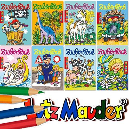 Carpeta 8 Zauberblöckchen mit 24 Blatt in DIN A8 für Jungen und Mädchen | Lutz Mauder 18590 | mit 4 Buntstifte
