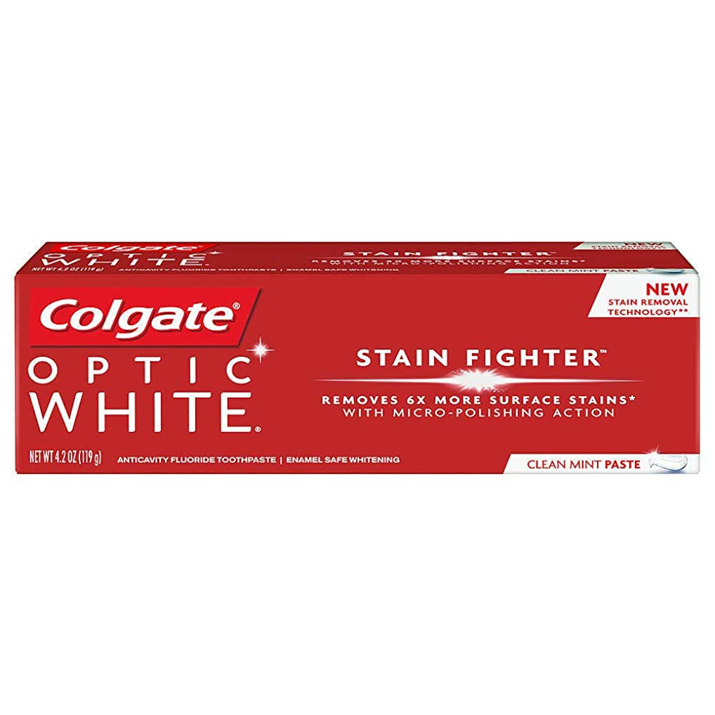 アルバム疼痛定常コルゲート ホワイトニング Colgate 119g Optic White STAIN FIGHTER 白い歯 歯磨き粉 ミント (Clean Mint Paste)