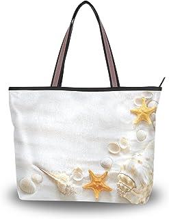 ALAZA Tote Schultertasche Beach Shell Starfish-Handtasche Groß