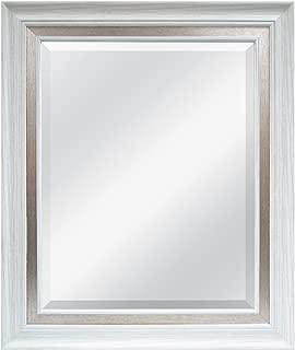 MCS 16x20 Inch Wall Mirror, 22x28 Inch Overall Size, White Woodgrain Finish