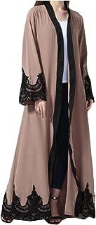Women's Casual Lace Hem Line Stitch Long Sleeve Muslim Abaya