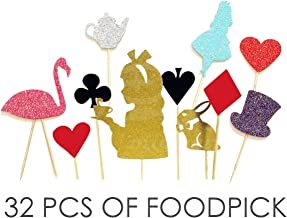 Value Pack- 32 Cupcake Toppers Picks- Various Themes (Alice in Wonderland)