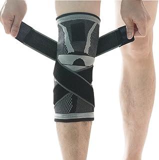 U-pick Knie Support Brace, Compressie Knie Sleeve met Antislip Verstelbare Drukband, Knie Protector voor Hardlopen Sport G...