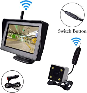 "Wireless Backup Camera and 4.3"" Monitor Parking System Kit Windshield Suction Cup/Dash Stand Built-in Receiver Night Visio..."