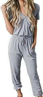 Women's Sexy Deep V Neck Short Sleeve Wrap Drawstring Waist Jumpsuit Romper with Pockets