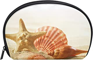 ALAZA Starfish Beach Half Moon Cosmetic Makeup Toiletry Bag Pouch Travel Handy Purse Organizer Bag for Women Girls