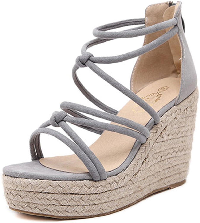 BININBOX Women Cross Strappy Peep Toe Wedges Sandals Platform shoes