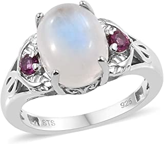 Statement Ring 925 Sterling Silver Platinum Plated Rainbow Moonstone Rhodolite Garnet Jewelry for Women