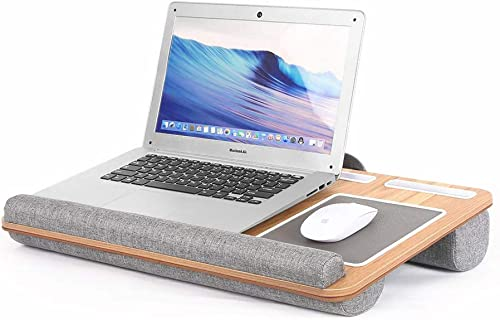 high quality Honguo Lap Desk with Pillow Cushion Mouse Pad Wrist Rest Phone sale Holde Laptop Desk Fits up to 17 Inch Most Notebook MacBook Laptop Stand with lowest Tablet Pen Holder (Wooden) online sale