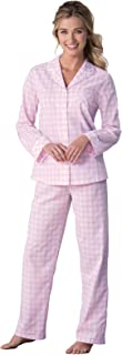 PajamaGram Women's Pajama Set Cotton - Gingham Plaid Pajamas for Women