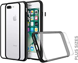 RhinoShield Modular Case for iPhone 8 Plus/7 Plus [Mod NX] | Customizable Shock Absorbent Heavy Duty Protective Cover - Compatible w/Wireless Charging & Lenses - Shockproof Black Bumper w/Clear Back