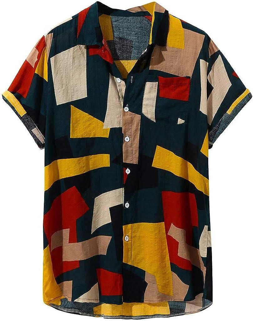 Asibeiul Mens Fashion Printed Loose Short Sleeve T Shirt Casual Buttons Blouse Multi Color Block Print Turn-Down Collar Beach