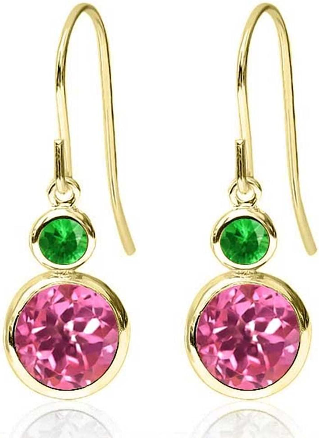 2.28 Ct Round Pink Mystic Topaz and Simulated Tsavorite 14K Yellow gold Earrings