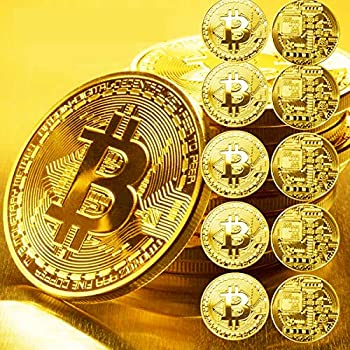 10 Pcs Gold Bitcoin and 10 Cases Commemorative 2021 New Blockchain Cryptocurrency Collectors Gold Plated Bitcoin&Protective Cases