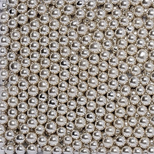 4mm Silver Dragees - 8 Ounces - Shiny Round Ball Metallic Sprinkles by Sugar Deco