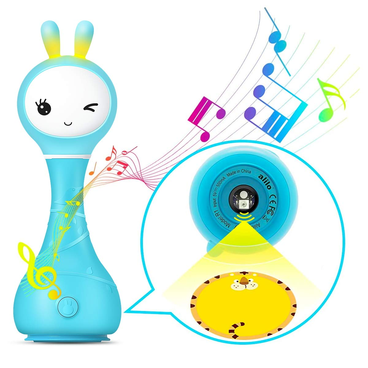 Alilo Bunny Baby Rattle Shaker and Teether Toys,Electronic Rattle Infants Toy,9 Kinds of Color Learning and Educational Toys with Music & Light for 0-6-12 Months, Gift for Newborns Girls Boys Toddlers
