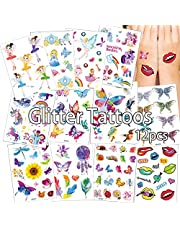 Anyingkai Set van 12 cartoon-tatoeages, tijdelijke tatoeages, kinderen, meisjes, tattoos, set, koffer, snowboard, iPhone (kleurrijk)