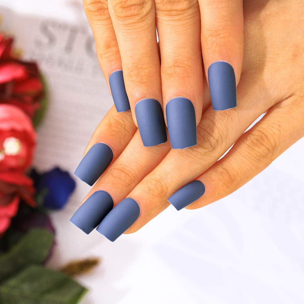 Urieo Wholesale Bombing new work Matte Press on Nails Blue Square Simple Long False A
