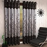 Home Sizzler 2 Piece Eyelet Polyester Door Curtain - 7ft, Brown