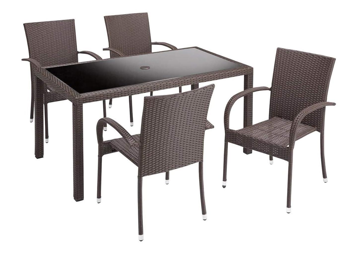 お母さんアクセル発動機高級人工ラタン テーブルチェア 5点セット ダイニングセット ガーデンファニチャー 21BT-S5D (ブラウン)