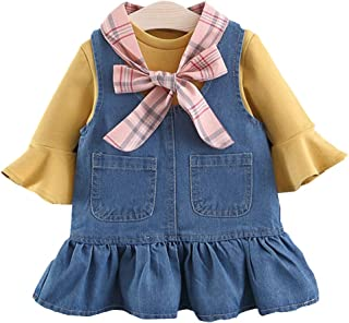 Chumhey Baby & Toddler Girls Ruffled Jeans Overalls Long Sleeve Sweater 2Pcs Skirt Sets with Scarf