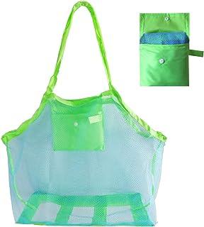 Walmeck Beach Mesh Bag Beach Bag Foldable Toy Tote Bag For Travel Beach Waterpark Supermarket